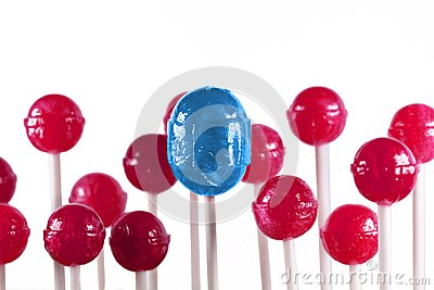 Blue and pink lollipops