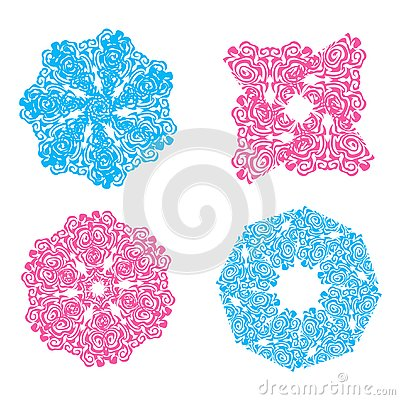 Blue and pink openwork snowflakes Vector Illustration