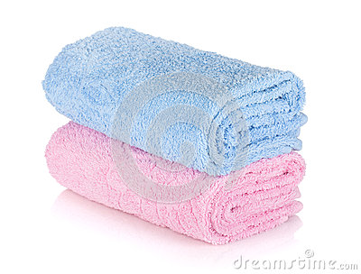 Blue and pink towels