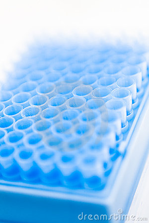 Blue pipette tips in container,