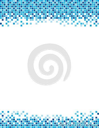 Blue Pixel Border Flyer Template Stock Illustration ...