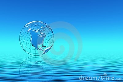 Blue planet in water