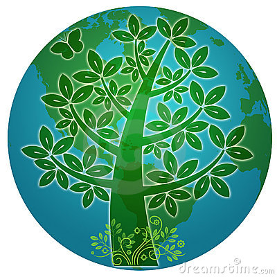 Free Blue Planet With Abstract Eco Tree Silhouette Stock Photography - 18617542