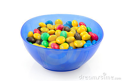 Blue plastic bowl with chocolate candy