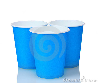 Blue plastic cups and