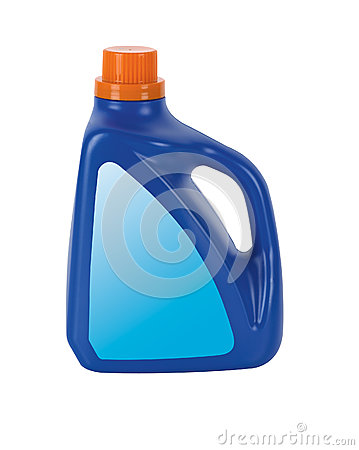 Blue Plastic detergent bottle