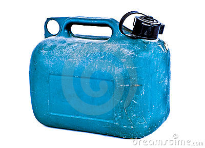 Blue plastic gas can
