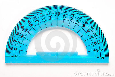Blue plastic protractor isolated on white