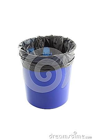 Blue plastic trash and garbage bag