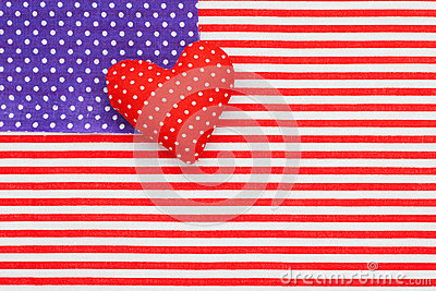 Blue polka dots and Red/white Striped Fabric as American flag