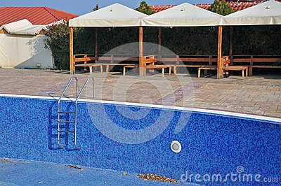Blue pool and bar