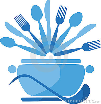 Free Blue Pot With Spoons And Forks -1 Royalty Free Stock Photos - 14857658