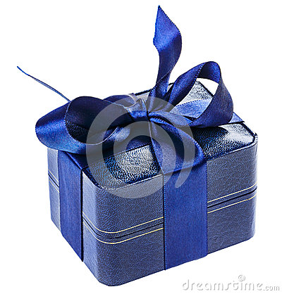 Blue present box with silk ribbon
