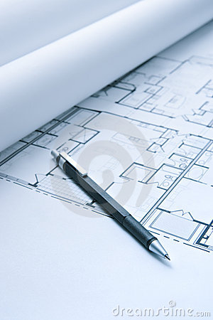 Blue Print Floor Plans with Mechanical Pencil
