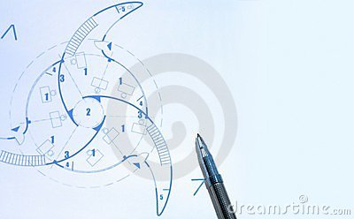 Blue prints and pen Stock Photo