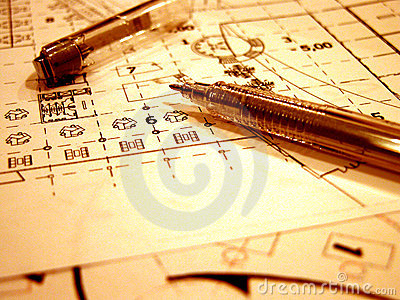 Blue prints in retro style Stock Photo