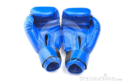 Blue protective gloves