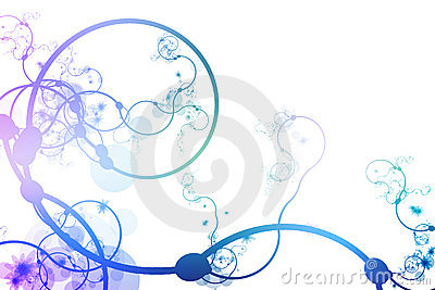 Blue Purple Abstract Curving Line Vines