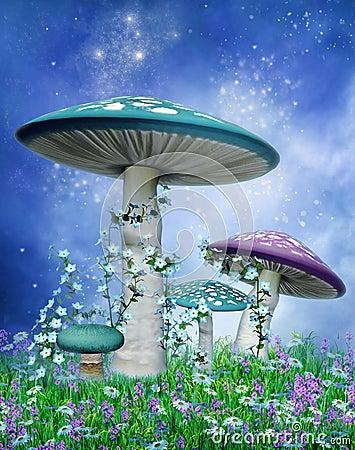 Blue and purple mushrooms