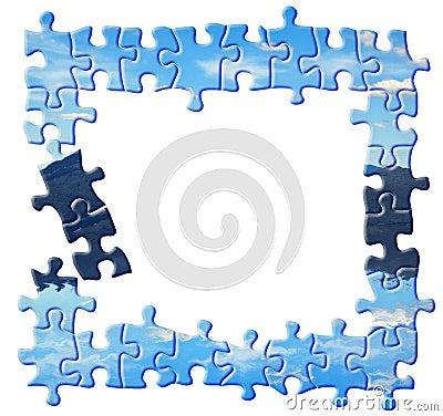 Blue puzzle border