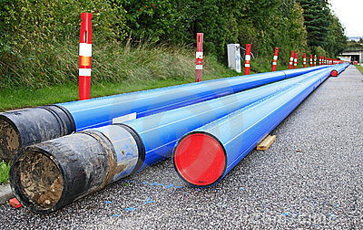 Blue PVC piping