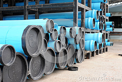 Blue PVC water pipes in the storage