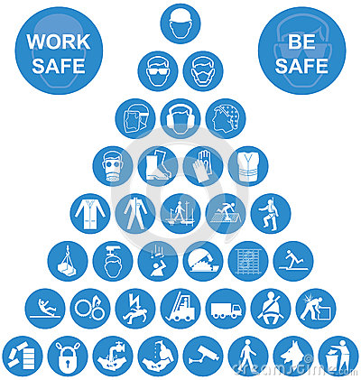 Free Blue Pyramid Health And Safety Icon Collection Royalty Free Stock Images - 53773189