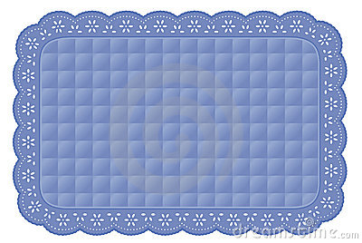 Blue Quilted Eyelet Lace Place Mat