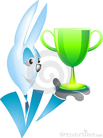 Blue rabbit with shiny trophy