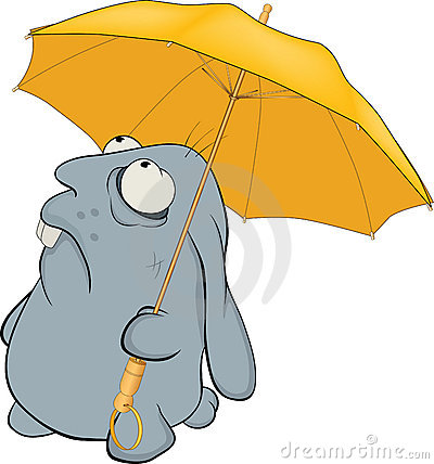 Blue rabbit and umbrella