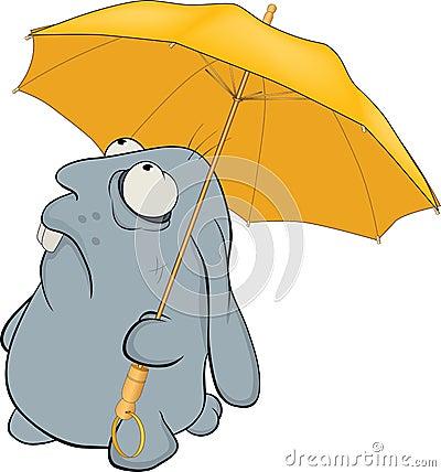 Blue rabbit and umbrella