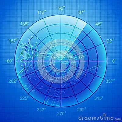 Blue radar screen.