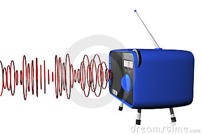 Blue radio with waves