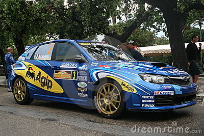 Blue rally car Editorial Stock Photo