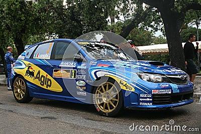 Blue rally car Editorial Stock Photo