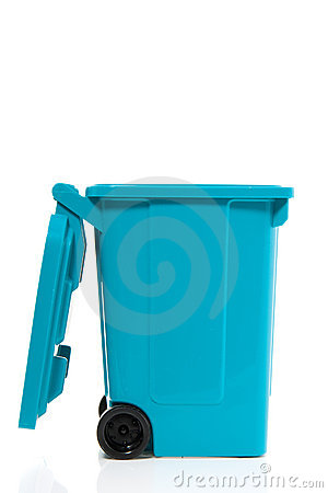 A blue recycle bin