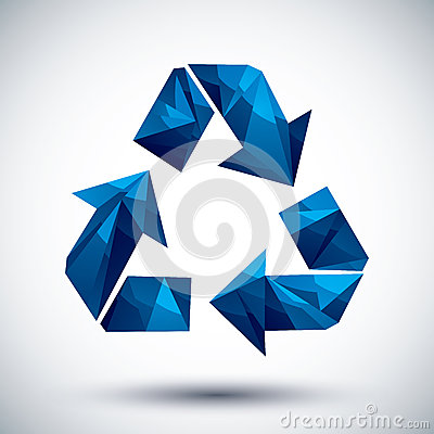 Blue recycle geometric icon made in 3d modern style, best for us