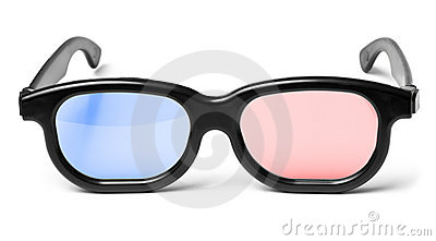 Blue red 3D cinema glasses