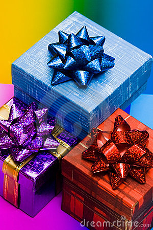Free Blue, Red And Violet Gift Boxes Royalty Free Stock Photo - 5233255