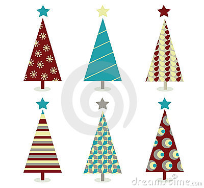 Free Blue – Red Christmas Tree Icon Set Stock Photo - 12088030