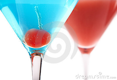 Blue and Red Cocktails