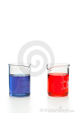 Blue and red liquid in beakers