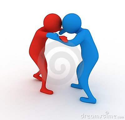 Blue and red wrestlers