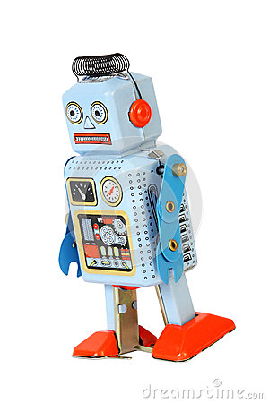 Blue retro mechanical robot toy walks isolated