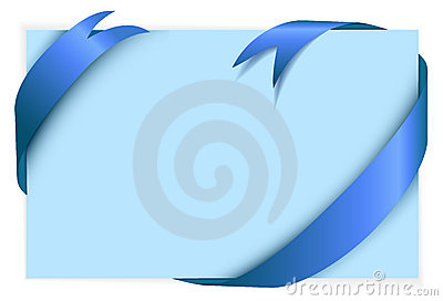 Blue ribbon around blank light blue paper