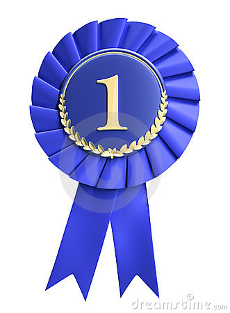 Blue ribbon award blank with copy space. Isolated