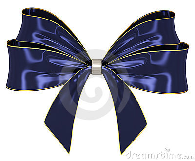 Blue ribbon bow 3d render