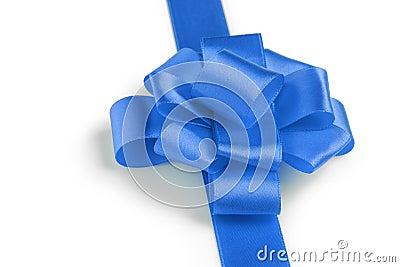 Blue ribbon bow angle photo