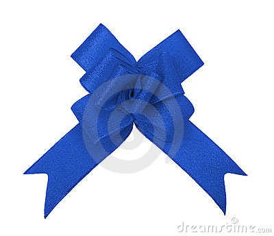 Blue ribbon bow cutout