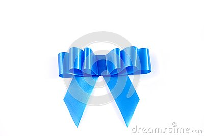 Blue ribbon isolated over white with clipping path